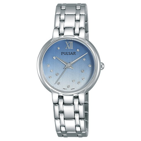 Ladies Pulsar with Swarovski Crystal Accents - Silver Tone with Blue Dial - PH8301 - image 1 of 1