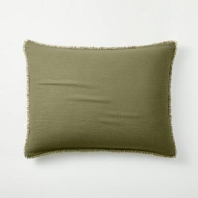 King Euro Heavyweight Linen Blend Throw Pillow Moss Green - Casaluna™