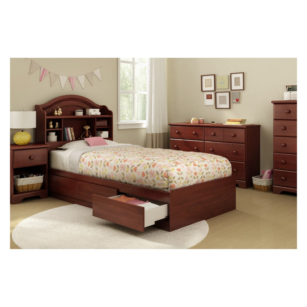 Summer Breeze Mates Bed With 3 Drawers Twin Royal Cherry - South Shore