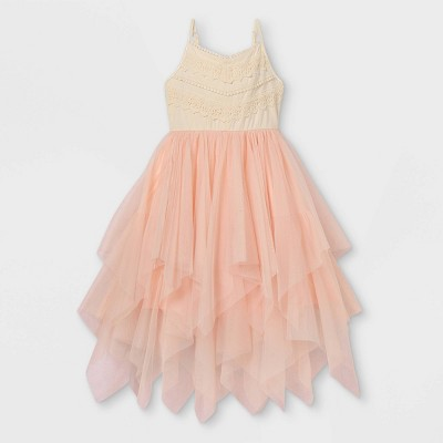 Zenzi Girls' Lace Bodice Sleeveless Tulle Dress - Cream/Pink
