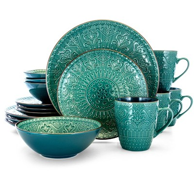 16pc Stoneware Mural Dinnerware Set Teal - Elama