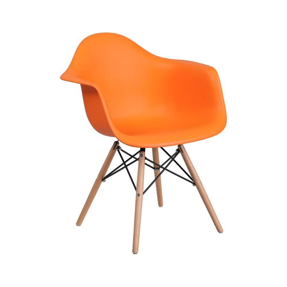 Image of Alonza Series Plastic Chair with Arms and Wooden Legs Orange - Riverstone Furniture Collection
