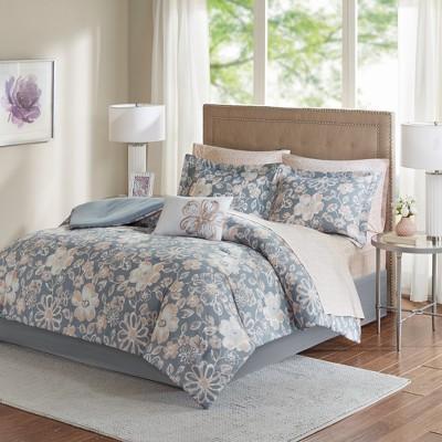 Gray Jordan Comforter and Cotton Sheet Set (Full)9pc