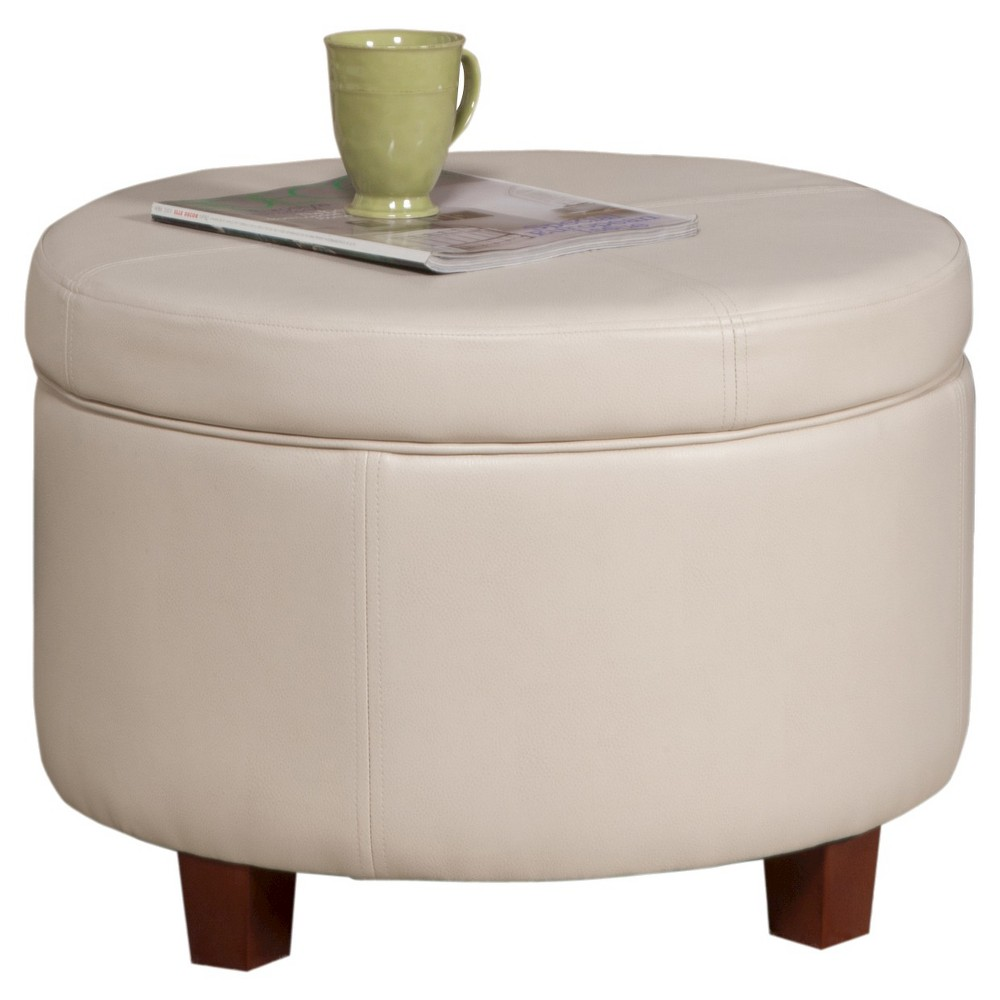 Homepop Large Faux Leather Round Storage Ottoman - Ivory was $104.99 now $78.74 (25.0% off)
