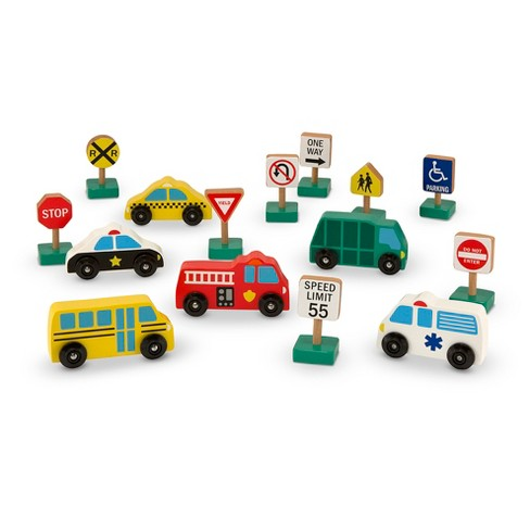 Melissa & Doug Wooden Vehicles and Traffic Signs With 6 Cars and 9 Signs - image 1 of 4