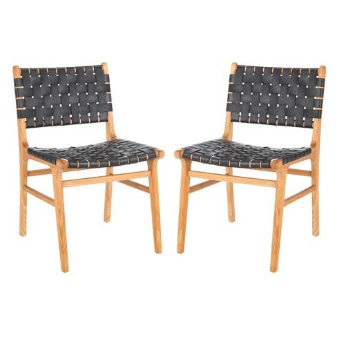 Set Of 2 Taika Woven Leather Dining Chair Black Safavieh Target