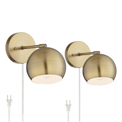 360 Lighting Wall Lights LED Plug In Set of 2 Brass Sphere Shade Pin Up for Bedroom Living Room Reading