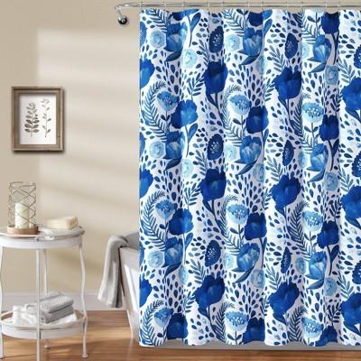 Poppy Garden Shower Curtain Single Blue - Lush Décor