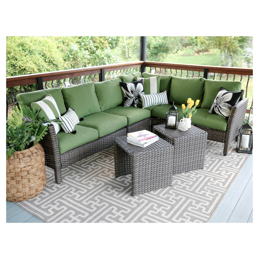 Canton 6pc All-Weather Wicker Patio Corner Sectional Seating Set - Brown/Green - Leisure Made