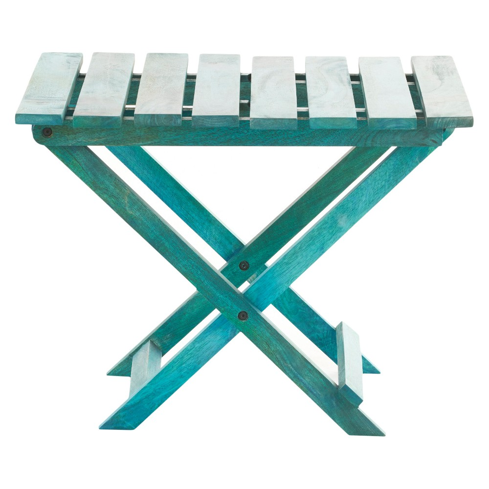 Idamae Foldable Accent Table - Wood - Blue - Christopher Knight Home