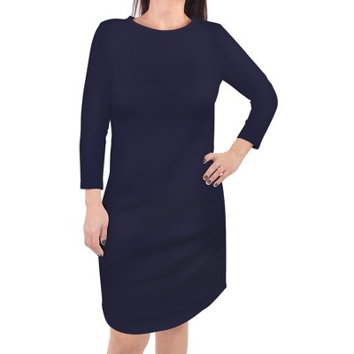 Touched by Nature Womens Organic Cotton Long-Sleeve Dress, Navy