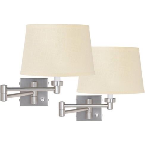 Possini Euro Design Modern Swing Arm Wall Lamps Set of 2 Brushed Nickel Plug-In Light Fixture Cream Burlap Drum Shade for Bedroom - image 1 of 2