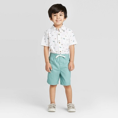 Toddler Boys' 2pc Button-Front Plaid Top and Bottom Set - Just One You® made by carter's White/Green 2T