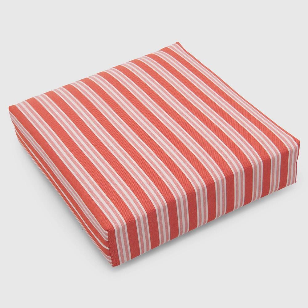 Coastal Stripe Outdoor Deep Seat Cushion Coral (Pink) - Threshold