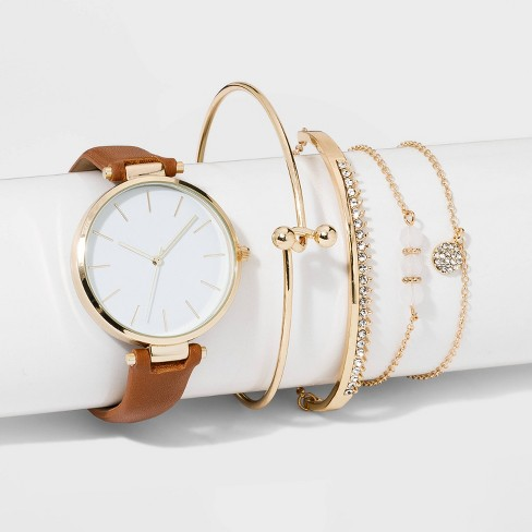 Women S Bracelet Set Watch A New Day Gold