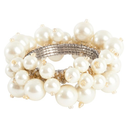 Faux Pearl Napkins Rings - Ivory (Set of 4) - image 1 of 2