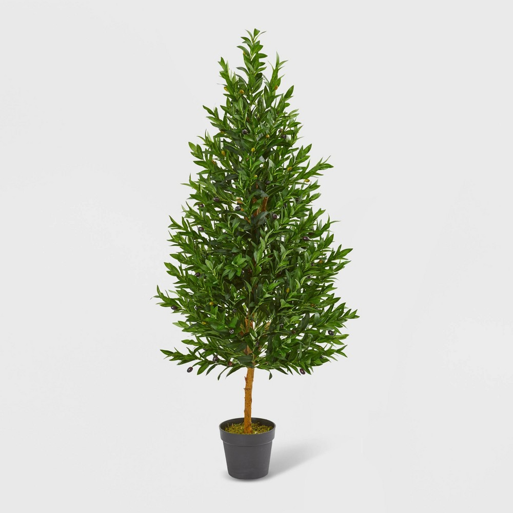 Image of 4.5ft Olive Cone Topiary Artificial Tree UV Resistant - Nearly Natural, Green
