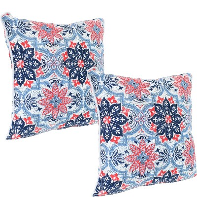 "2pc 16"" Square Indoor/Outdoor Decorative Throw Pillow Set - Blue and Red Floral - Sunnydaze Decor"
