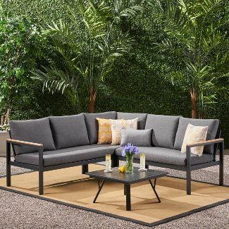 4pc Lampert Aluminum V-Shaped Patio Sofa Set Gray - Christopher Knight Home