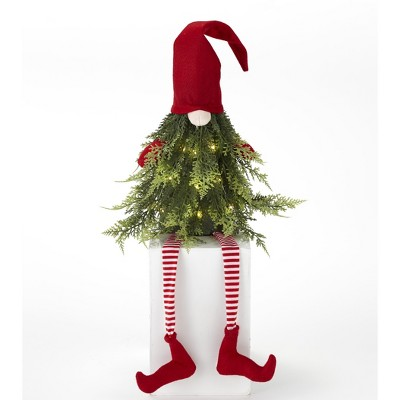 Lakeside Lighted Christmas Tree Gnome Shelf Sitter Decoration with Striped Socks