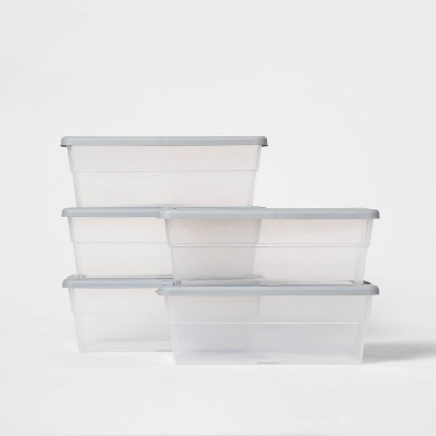 Set of 5 6qt Shoe Box Cement Gray - Room Essentials™