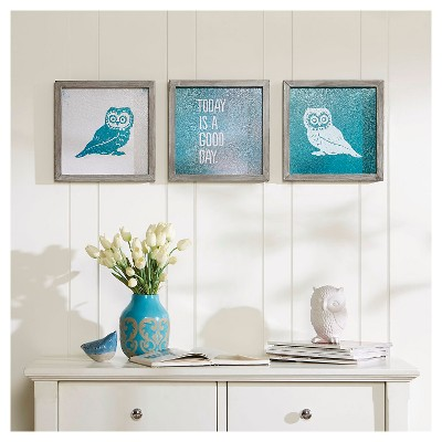 "(Set of 3)12"" Square Wise As An Owl Framed Gel Coat Teal"