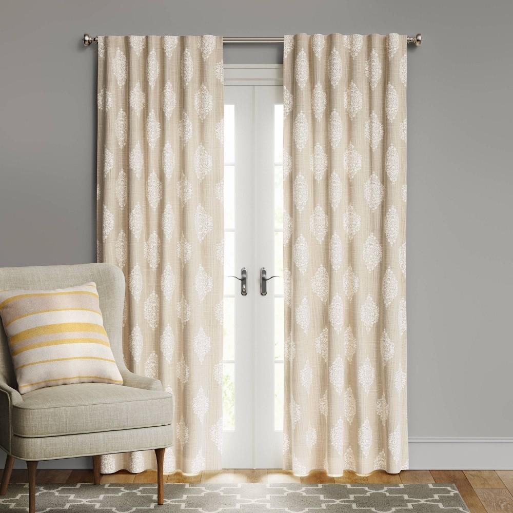 108 34 X50 34 Medallion Blackout Window Curtain Panel White Beige Threshold 8482