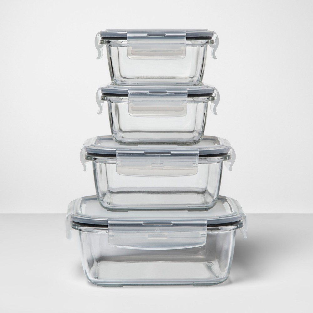 Image of 8pc Square Glass Food Storage Container Set - Made By Design