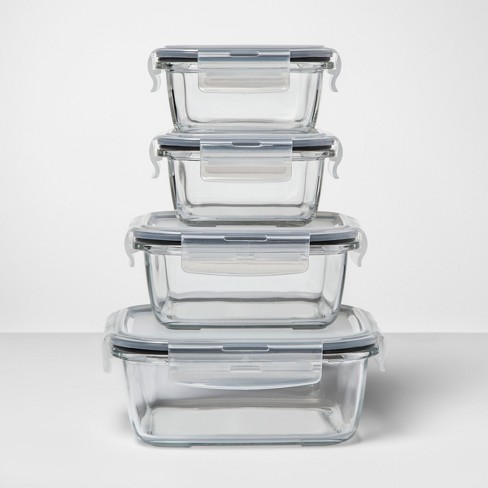 8pc Square Glass Food Storage Container Set - Made By Design™ - image 1 of 4