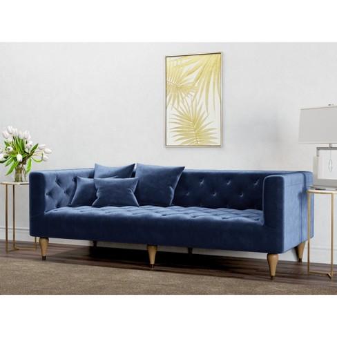 Alice Tufted Velvet Sofa Royal Blue