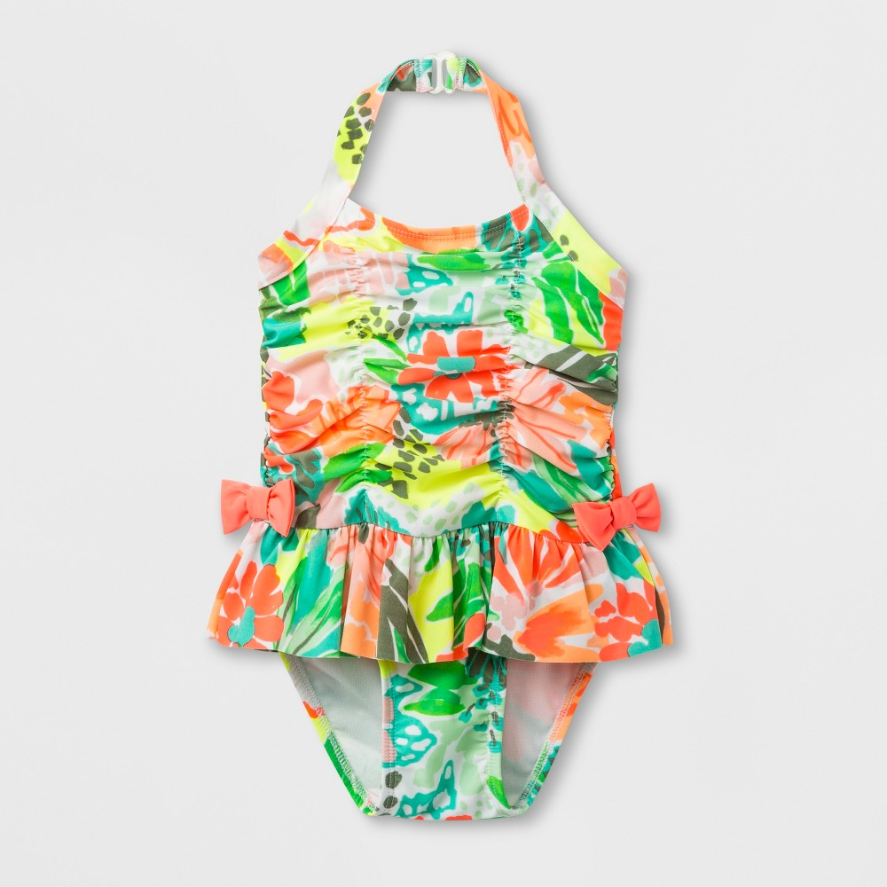 df0599959d Toddler Girls Floral Skirt One Piece Swimsuit Cat Jack 4T Pink