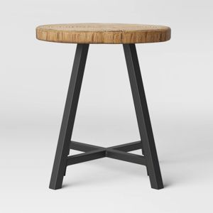Faux Wood Patio Side Table Brown
