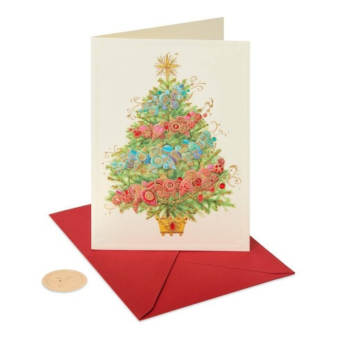 Peace Christmas Ornament.12ct Papyrus Glittered Christmas Tree With Ornaments Peace Boxed Holiday Greeting Cards