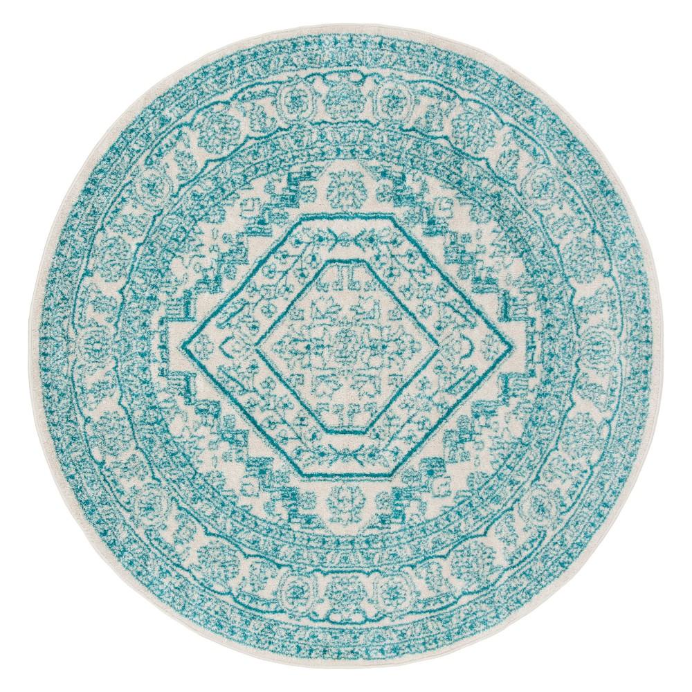 6' Medallion Round Area Rug Ivory/Teal (Ivory/Blue) - Safavieh