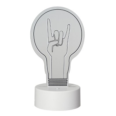 LED Lit Acrylic Sign Rock On Hand Lightbulb Novelty Sculpture Lights White - Room Essentials™