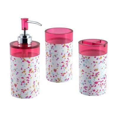 3pc Confetti Bath Set with Soap Dish Pink - Allure Home Creations