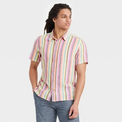 Men's Striped Regular Fit Short Sleeve Button-Down Shirt -  Goodfellow & Co™ Pink