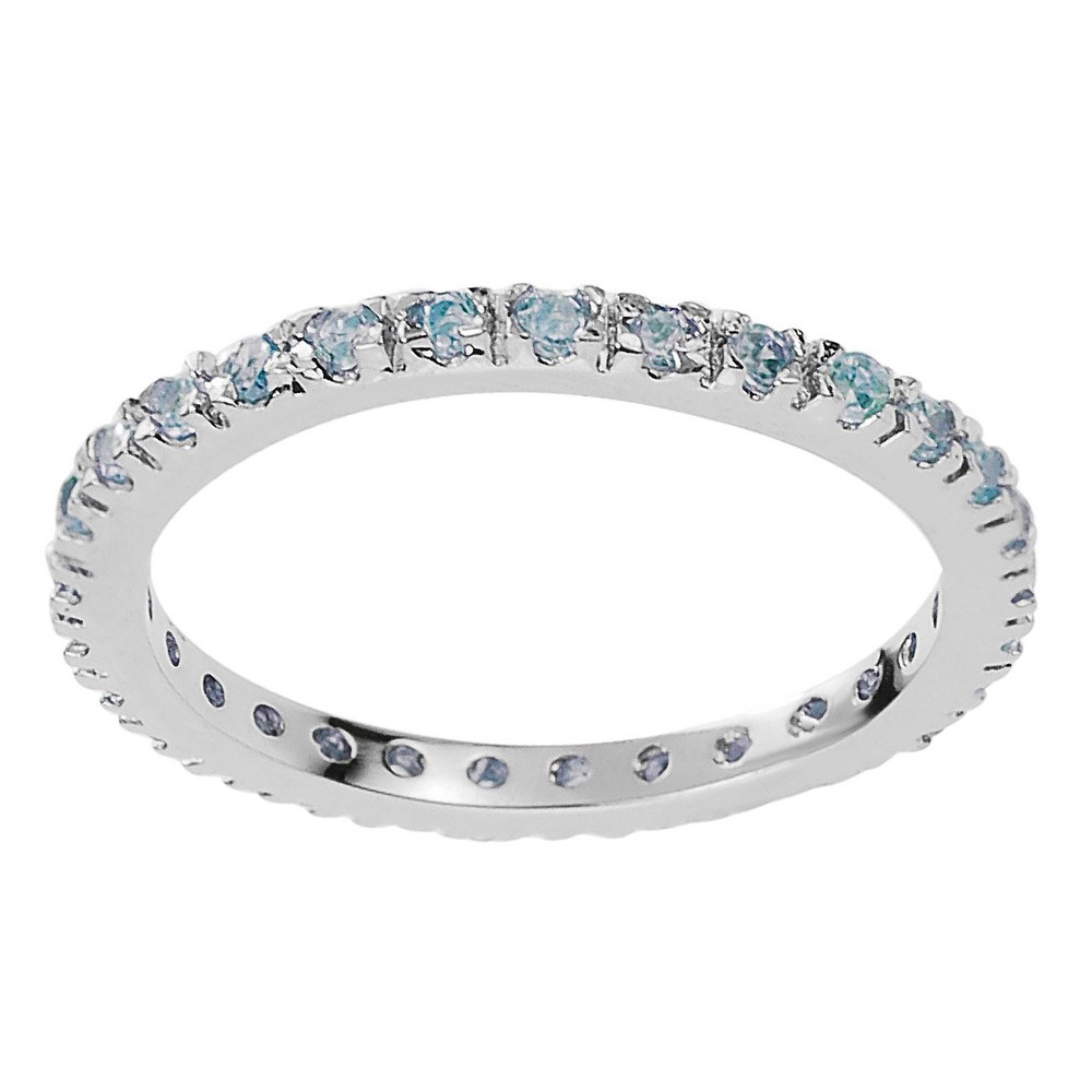 1/4 CT. T.W. Round-cut CZ Eternity Prong-set Ring in Sterling Silver - Blue, 5, Girl's, Lite Blue