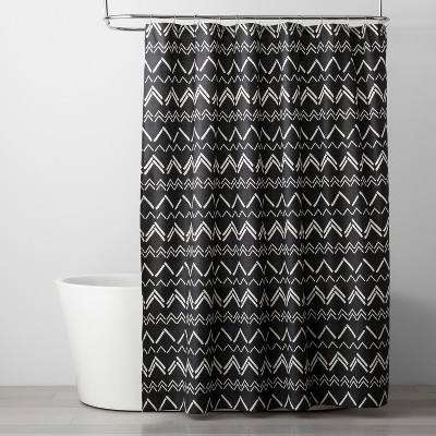 Chevron Shower Curtain Black - Room Essentials™