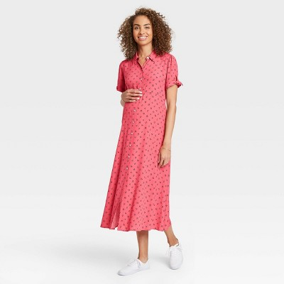 The Nines by HATCH™ Floral Print Tie Short Sleeve Crepe Maternity Dress Dark Pink