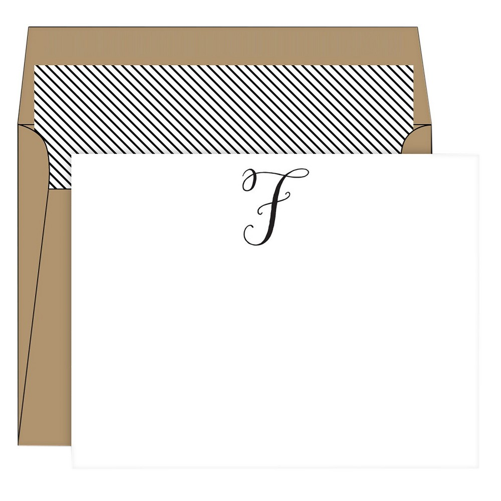 RosanneBECK Collections White Die-Cut Social Set Kraft Monogram - F