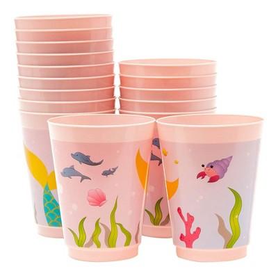 Blue Panda 16-Pack 16 oz Pink Mermaid Marine Disposable Plastic Cups Kids Party Supplies