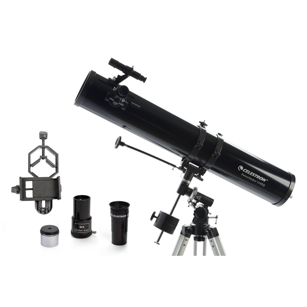 Image of Celestron PowerSeeker 114EQ Telescope with Basic Smartphone Adapter - Black
