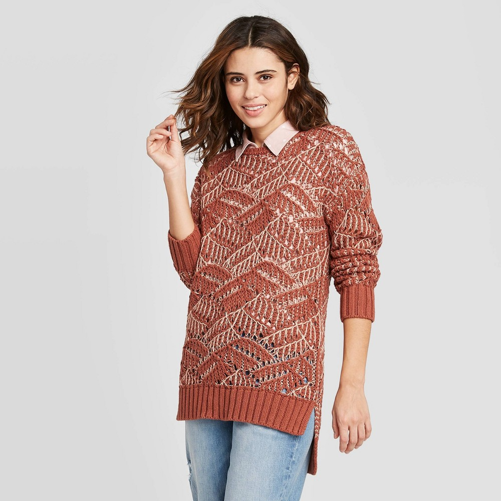 Women's Open Stitch Tunic Sweater - Universal Thread Clay XS, Women's was $30.0 now $21.0 (30.0% off)