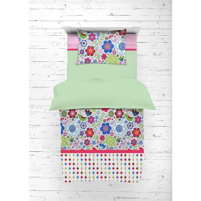 Bacati - Botanical Floral Birds Pink Multicolor 4 pc Toddler Bedding Set