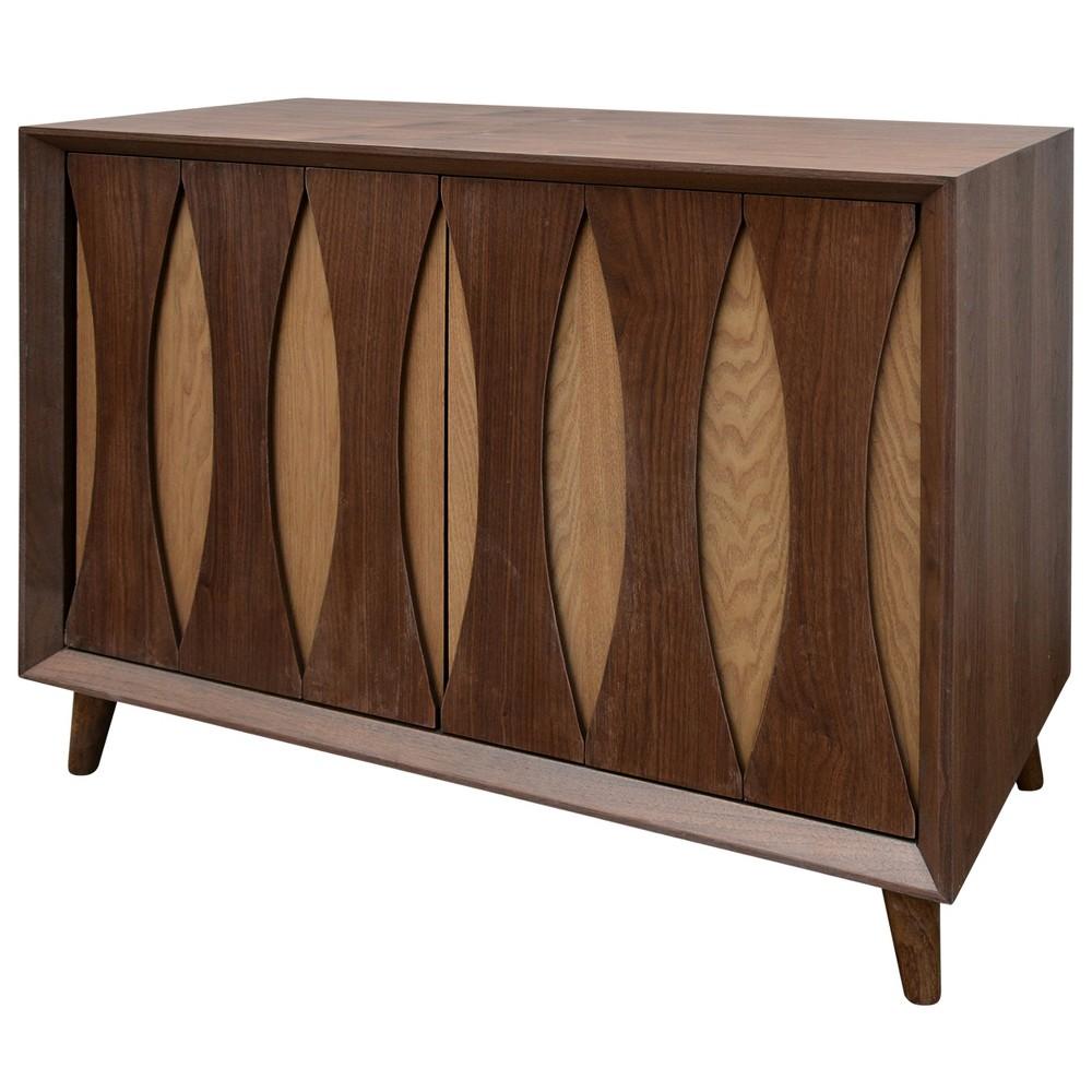 2 Door Cabinet with Contrasting Drawer Panels Walnut (Brown) - Stylecraft