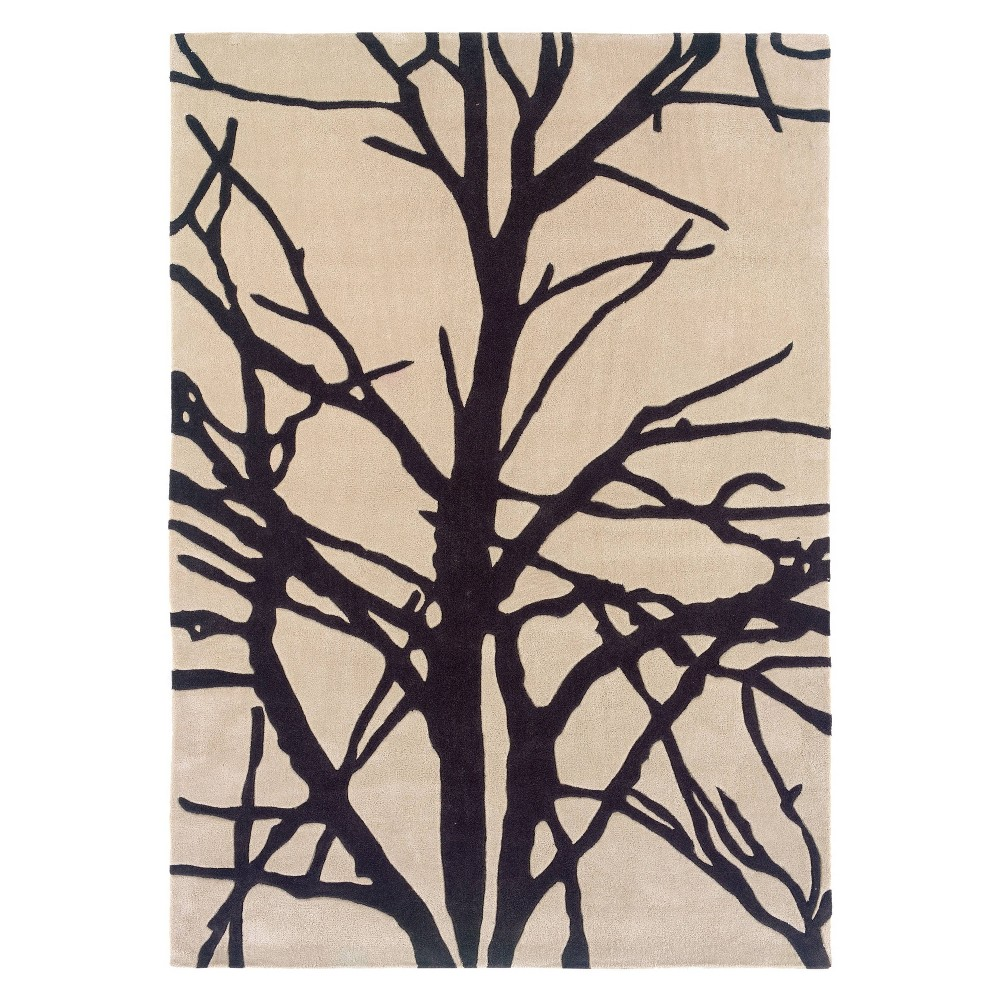 Cheap 8x10 Trio Collection Winter Tree Area Rug Cream Charcoal - Linon