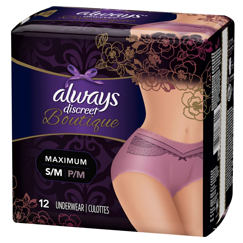 Always Discreet Boutique Incontinence Underwear for Women - Maximum Absorbency - Mauve (Pink) - Small/Medium - 12ct Discover the secret to maximum incontinence protection, that's actually pretty, with Always Discreet Boutique Incontinence Underwear for Women. The secret? Hidden inside is a super absorbent core that turns liquid to gel to absorb even your heaviest leaks. The curve-hugging, feminine design that defines your silhouette is made of silky-soft fabric with delicate, lacy prints, so it looks, fits, and feels like your real underwear. So you can feel protected and pretty, unlike adult diapers. It's maximum protection, you can depend on, made beautiful. Color: Mauve. Gender: Female.