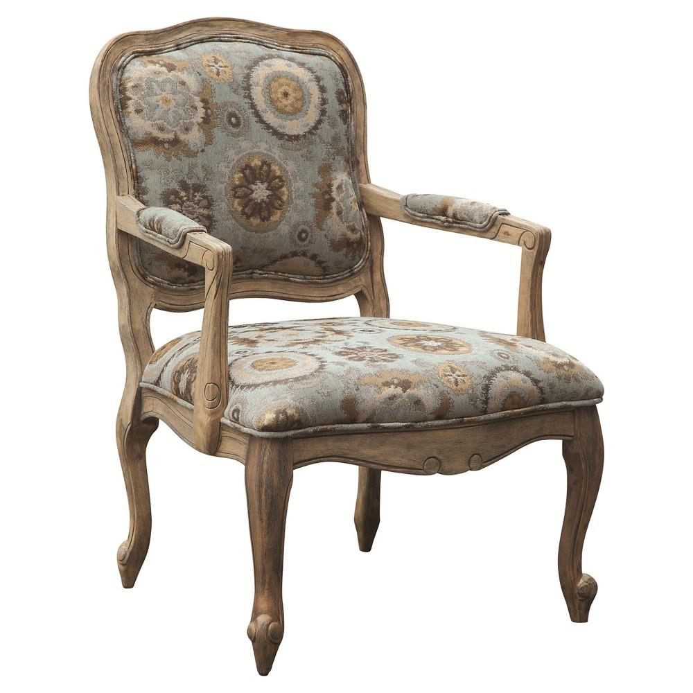 Monroe Camel Back Wood Arm Chair, Blue