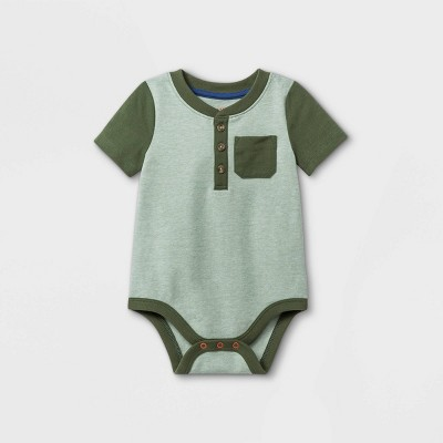 Baby Boys' Henley Striped Short Sleeve Bodysuit - Cat & Jack™ Deep Olive 12M